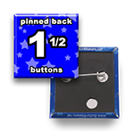 Custom Buttons 1-1/2x1-1/2 inch Square