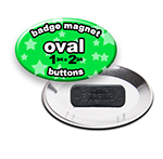 Custom Badge Magnets 1-3/4x2-3/4 inch Oval