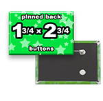 Custom Buttons 1-3/4x2-3/4 inch Rectangle