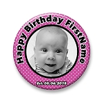 Birthday Button - Girly