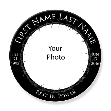 custom rest in peace memorial buttons order here