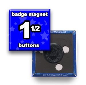 Custom Badge Magnets 1-1/2x1-1/2 inch Square