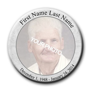 Memorial Buttons 3 inch - Classic Gray